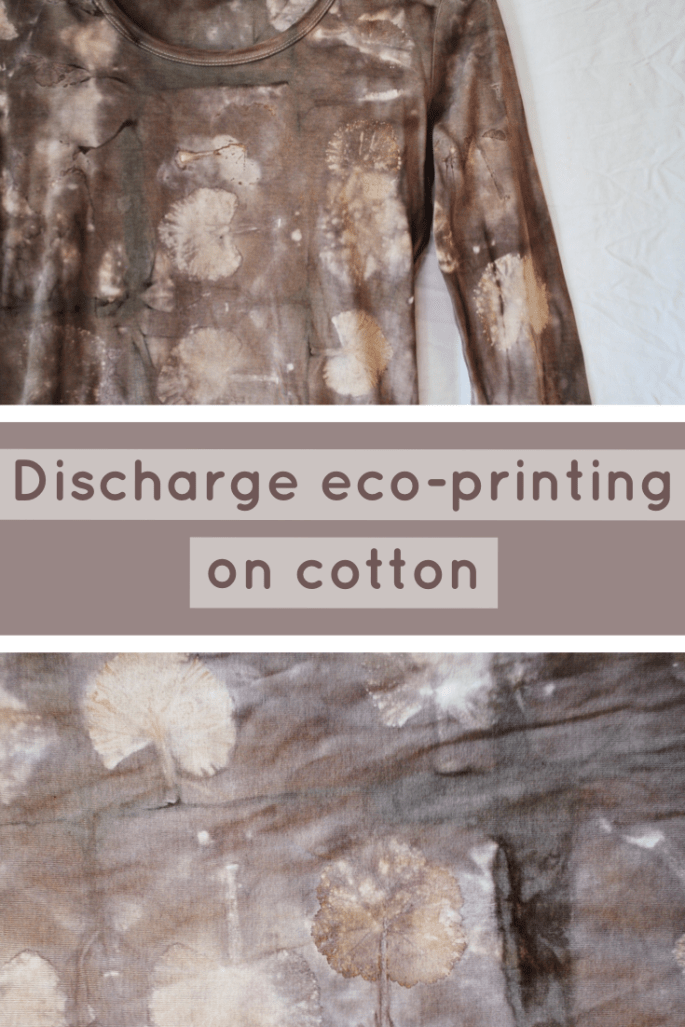 Examples of a cotton top dyed with logwood and discharge eco-printed with geranium leaves