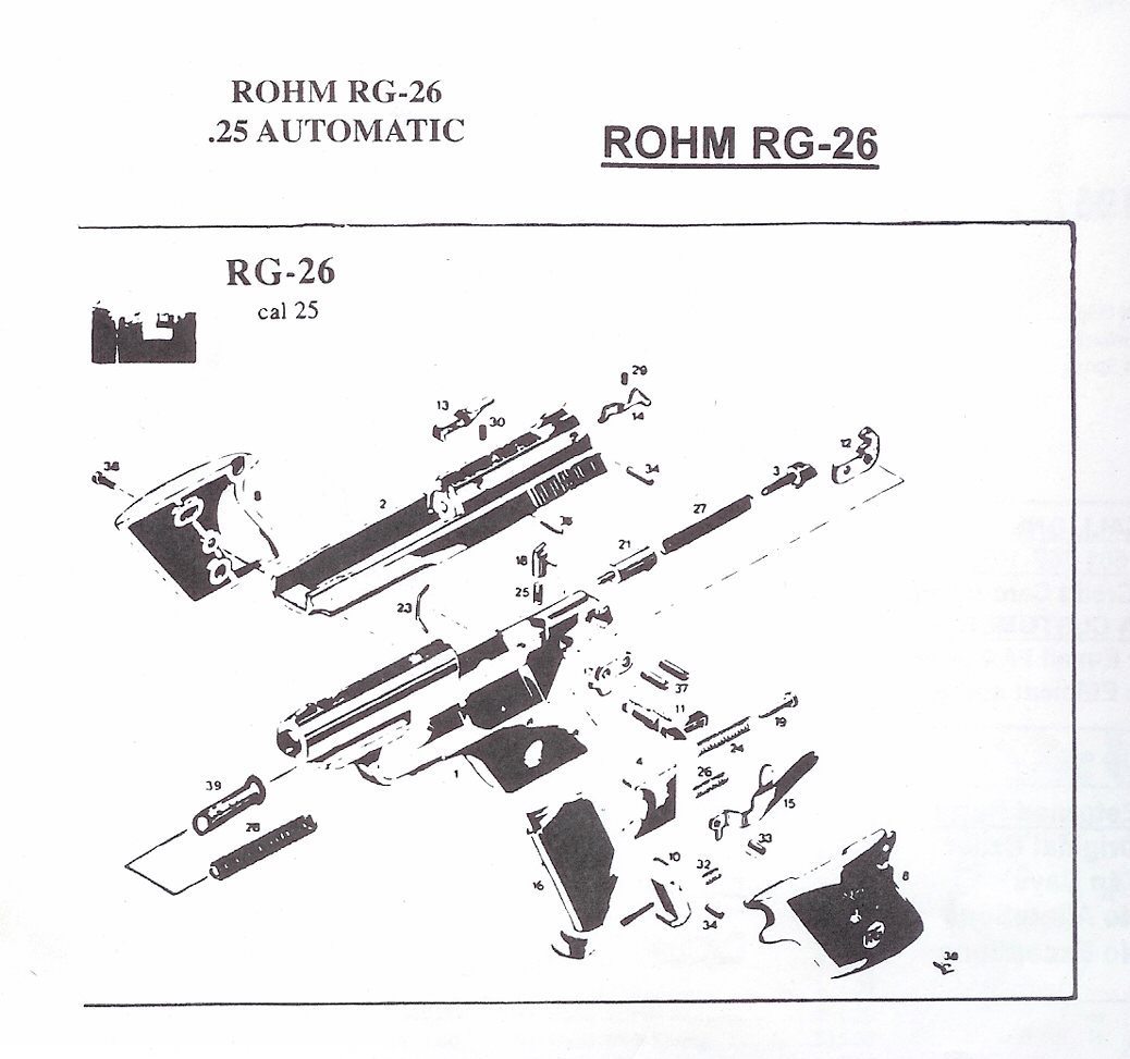 Rohm Rg Revolver And Automatic Pistol Parts German Pistol