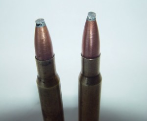 In order to determine what effect damaged bullet points would have on shooting accuracy, the author purposely battered the soft lead tips, possibly deforming them more than would occur naturally inside a magazine under heavy recoil.