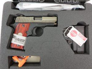 On Consignment:  Un-Fired Sig Sauer P238 Engraved .380 w/ hard case