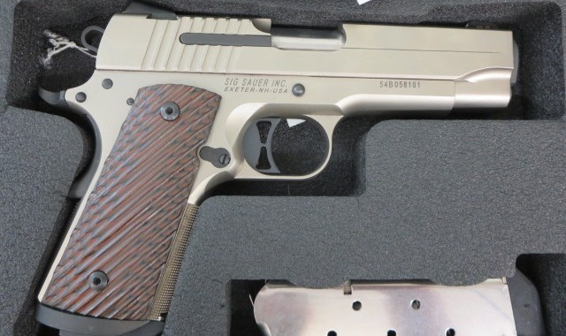 Used Sig Sauer 1911 Compact Nickel w/ night sights, extra