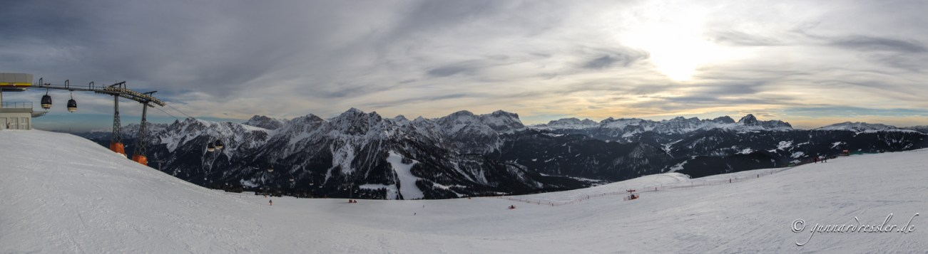 View from the Kronplatz to St. Vigil