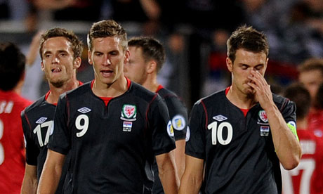 Aaron Ramsey of Wales after Serbia's fifth goal in their 6-1 win in September 2012