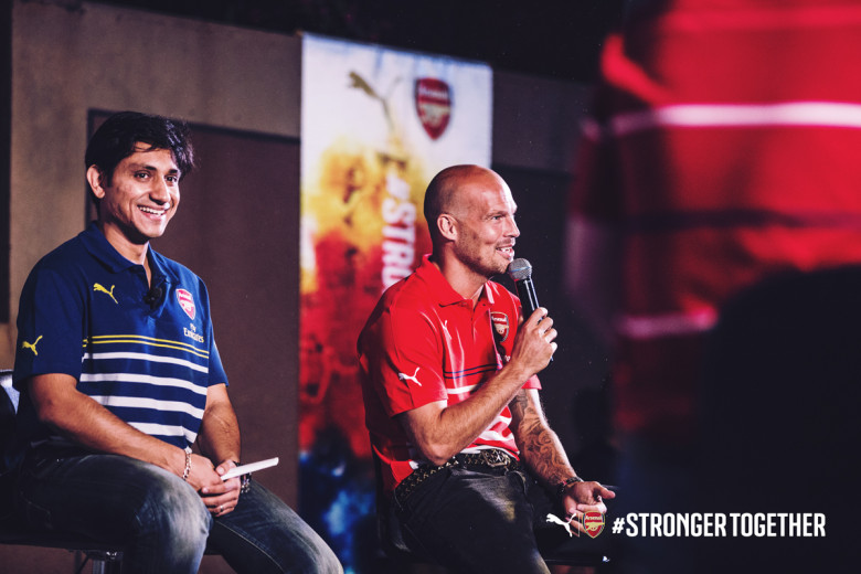 Arsenal legend, footballer Freddie Ljungberg in a tete-a-tete with Rajiv Mehta, MD PUMA India at the official PUMA Arsenal Kit launch in India