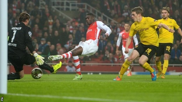 Sanogo gave the Gunners the lead with his first competitive goal for the club