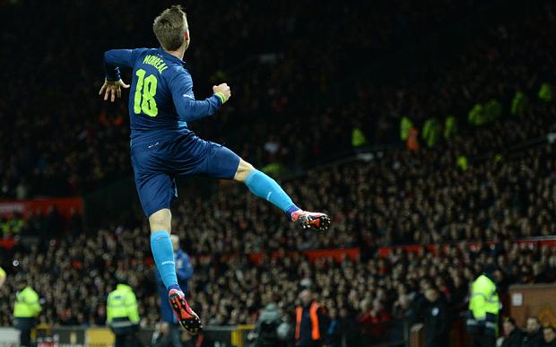 Monreal celebrates the opener against United