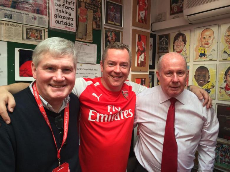 Pat Rice and Liam Brady flank Dave Seager during one Dave's book-signing events, at the Arsenal Supporters' Club