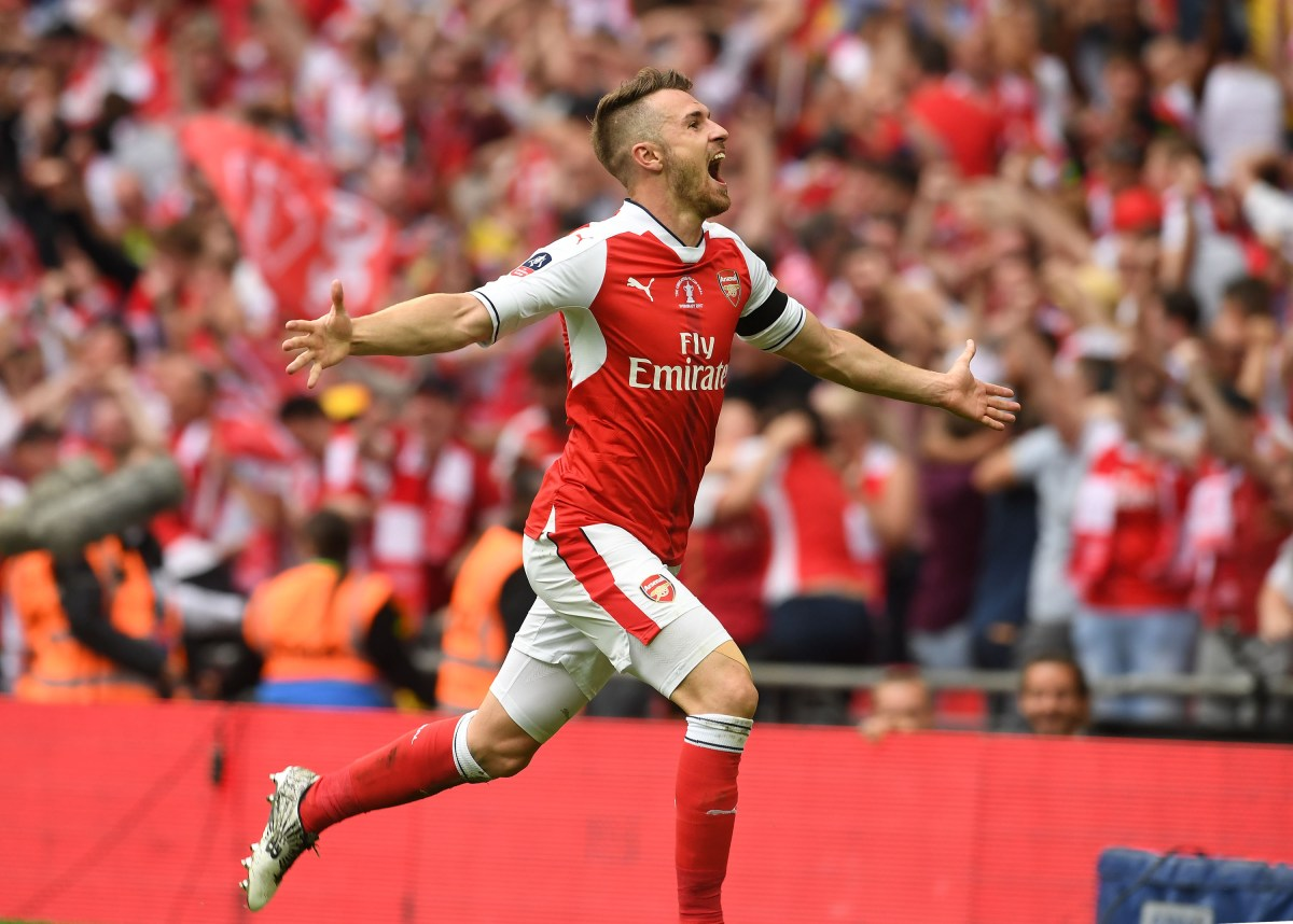 LONDON, ENGLAND - MAY 27: Aaron Ramsey celebrates scoring Arsenal's 2nd goal during the match between Arsenal and Chelsea at Wembley Stadium on May 27, 2017 in London, England. (Photo by David Price/Arsenal FC via Getty Images) *** Local Caption *** Aaron Ramsey