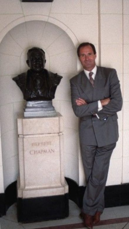 George poses in the marble halls next to Herbert Chapman's bustGeorge poses in the marble halls next to Herbert Chapman's bust