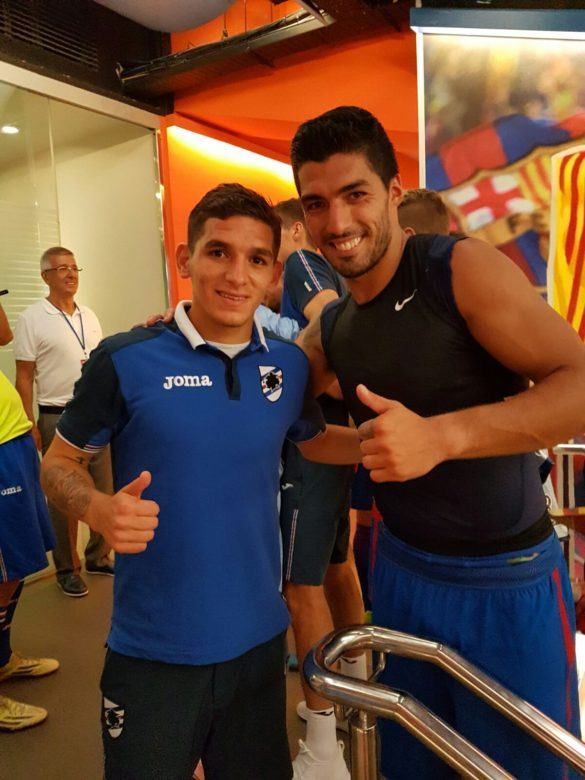Torriera poses with Uruguayan compatriot Bitey McTooth Fairy