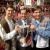 The captain, manager and match winner show off the Cup-Winners' Cup to the Arsenal fans