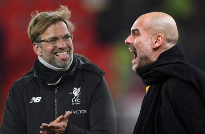 Old rivals: Liverpool's Klopp and City's Guardiola go head-to-head for Premier League honours