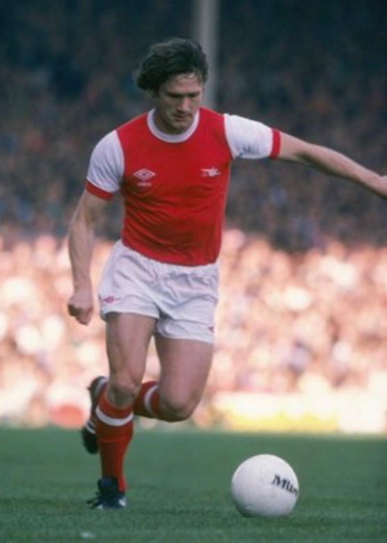 Pat in action in the red and Arsenal kit