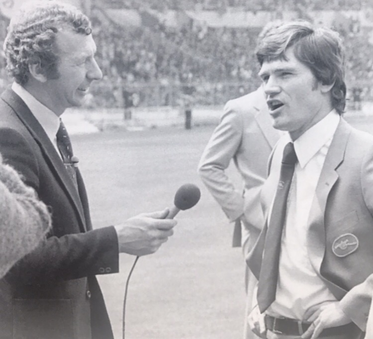 Pat is interviewed on the pitch at Wembley by his old team mate Bob Wilson before the 1979 FA Cup Final