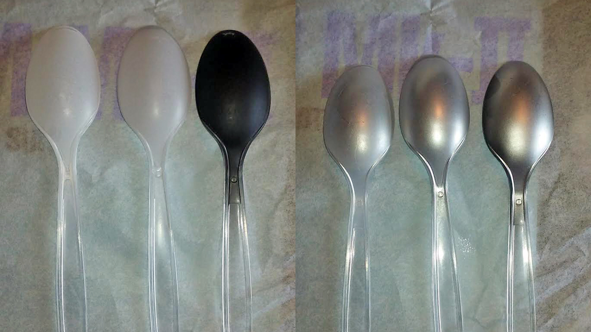 Painting miniatures color master primer - Left The Three Primer Colors On Three Spoons Right All Three Spoons With Chrome Paint On Top Notice How The Spoon With White Primer Is The Most Matte