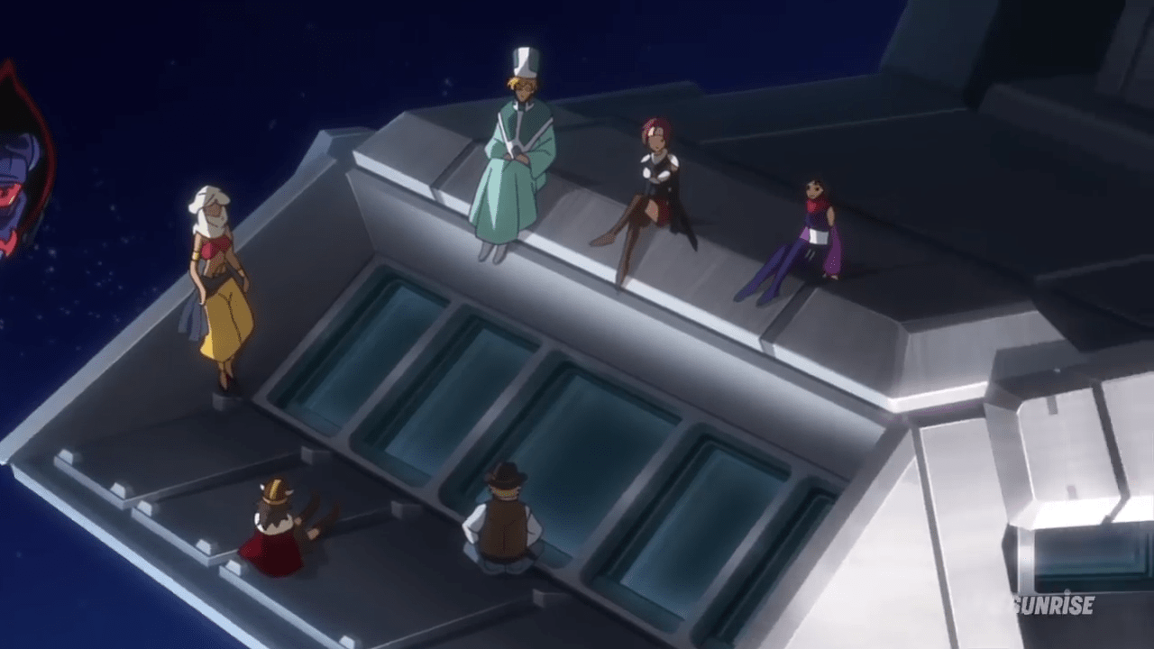 Deep Dive References In Gundam Build Divers Episode 11 Gunpla 101 Bandai Original Model Kits Sd V During Ayames Montage Of Good Times With Her Old Force They Hang Out For A Bit On The Outside Aeug Flagship Nahel Argamas Bridge