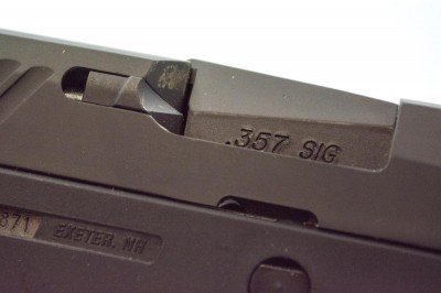 The model tested was chambered in .357 Sig. Note the brass stains.