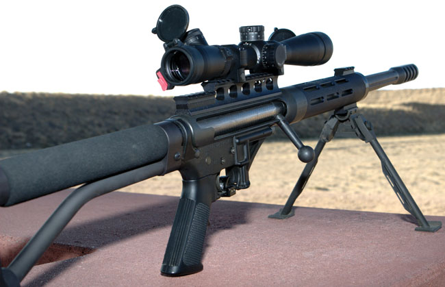 The Ligamec Ultralite 50 is a single-shot bolt-action upper that fits on its own dedicated AR-15 lower receiver. The author fitted a Leupold 3.5-10x40mm Mark 4 M3 scope.