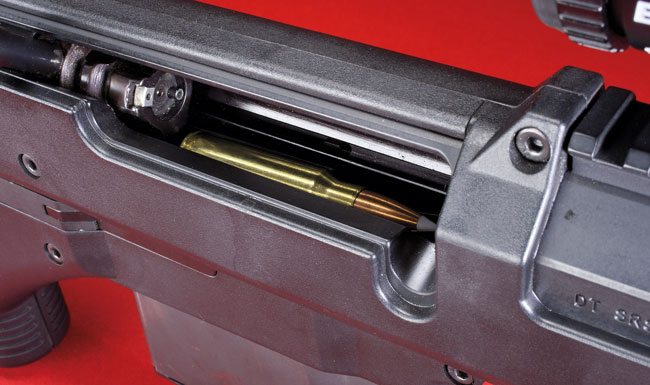 Ammunition feeds from a detachable, single-stack magazine. When cycling the bolt, it only has to travel 41/4 inches to be ready to strip another round from the magazine and guide it into the chamber.