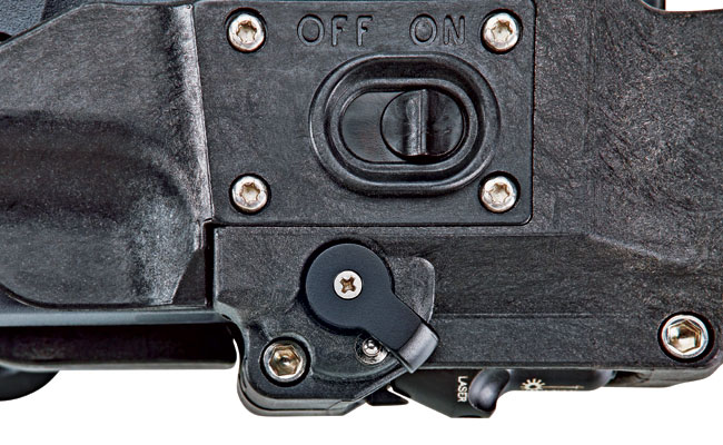 The RDH can secure the gun using the rotating lock. The switch above turns the light on/off upon drawing and holstering.