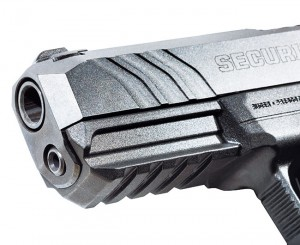 The Security-9 can be fitted with an aiming laser or pistol light. The slide also has forward serrations stylized after the LCP II.