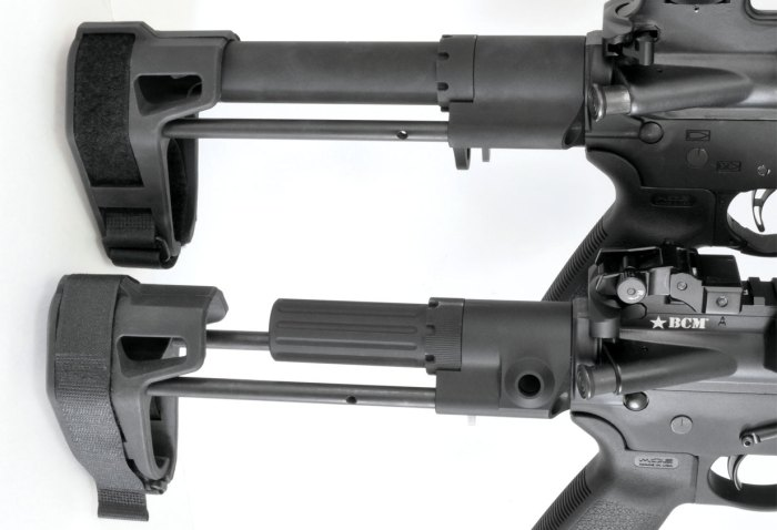 The short-­buffer-tube model of the Maxim Defense PDW Brace on the bottom compares to SB Tactical's SBPDW on the top. The SB Tactical unit has a full-­length buffer tube and fewer features, but it is nearly $100 cheaper.