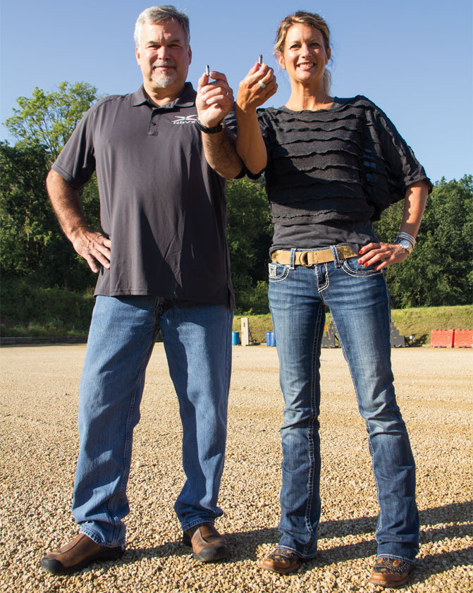 Scott Shultz and Kim Campbell introduced NovX to G&A editors at The Site in Mt. Carroll, Illinois. Firing thousands of rounds through several pistols, the benefits of a lightweight round were realized.