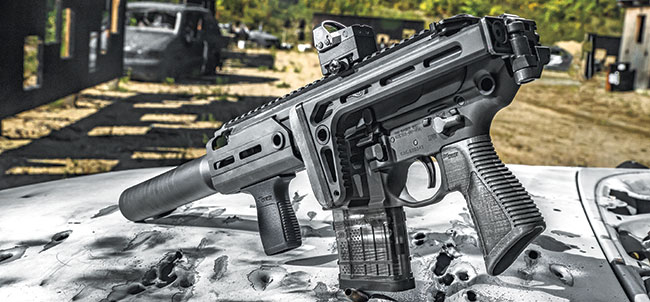 The side folding stock makes the suppressed Rattler the most compact rifle-caliber system available today.