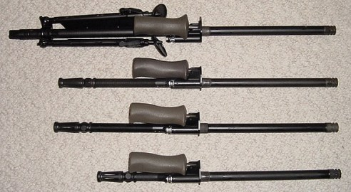 Steyr AUG barrels lined up horizontally