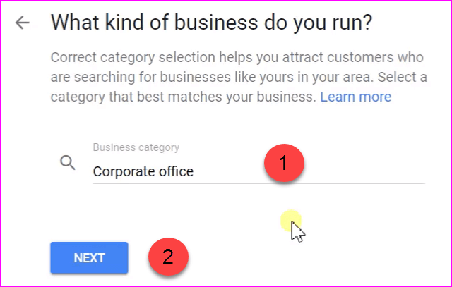 Add your Business Category