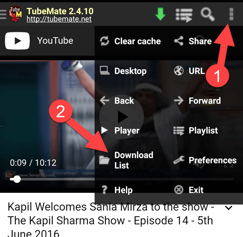 Download List option in Tubemate