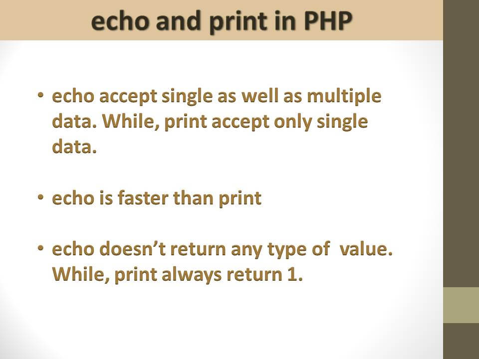 echo and print statement in PHP
