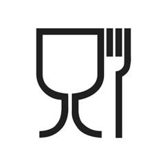 Bardak kadeh çatal sembolü. Food contact material symbol