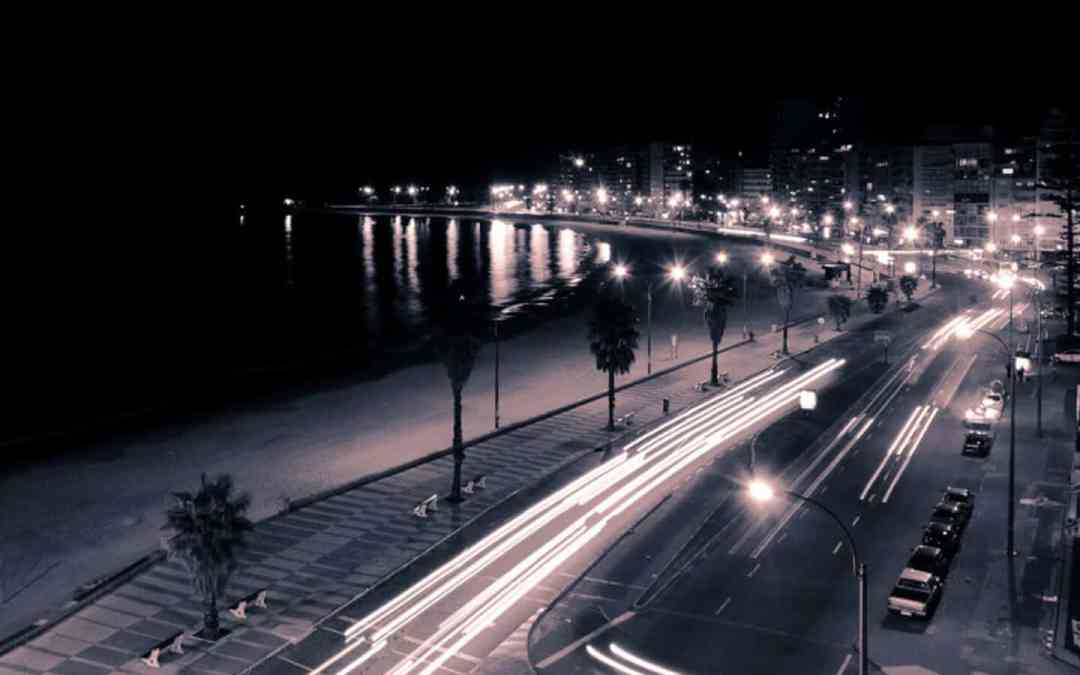 The rambla in Montevideo at night by Romina Campos
