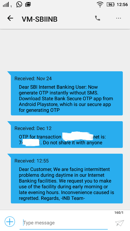 otp sample message