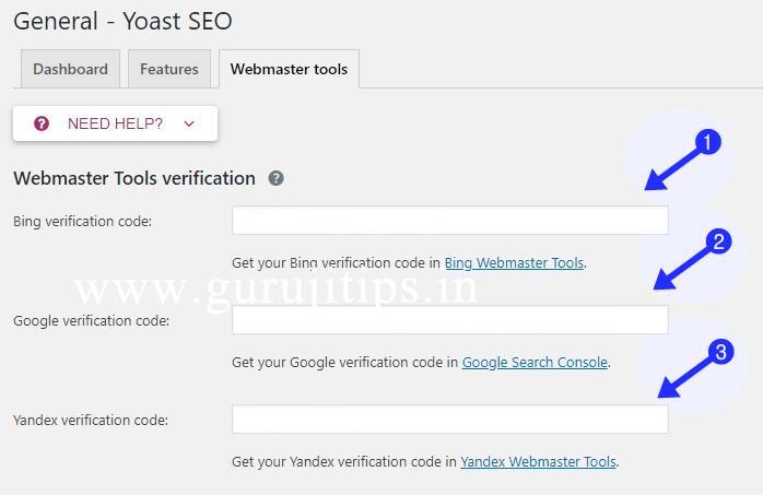 yoast webmaster setup