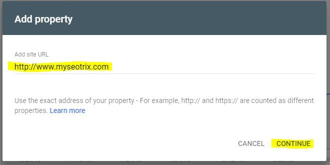 Add Property in Webmaster