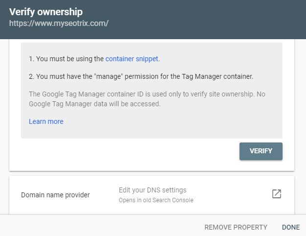 verify ownership tag manager dns settings