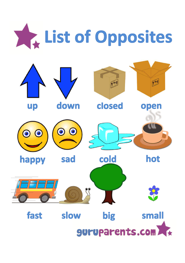 Opposites Worksheets