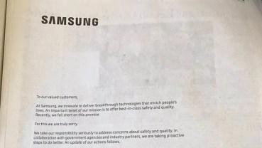 Samsung se disculpa en varios periódicos de EE.UU. por su fallido Note 7
