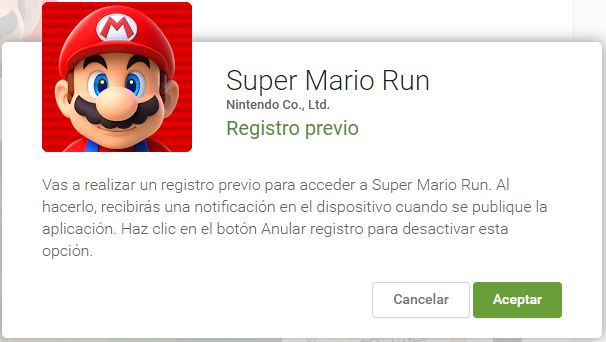 super mario run registro previo