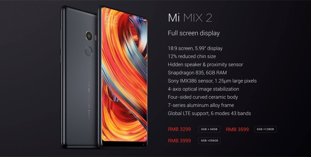 xiaomi mi mix 2 versiones