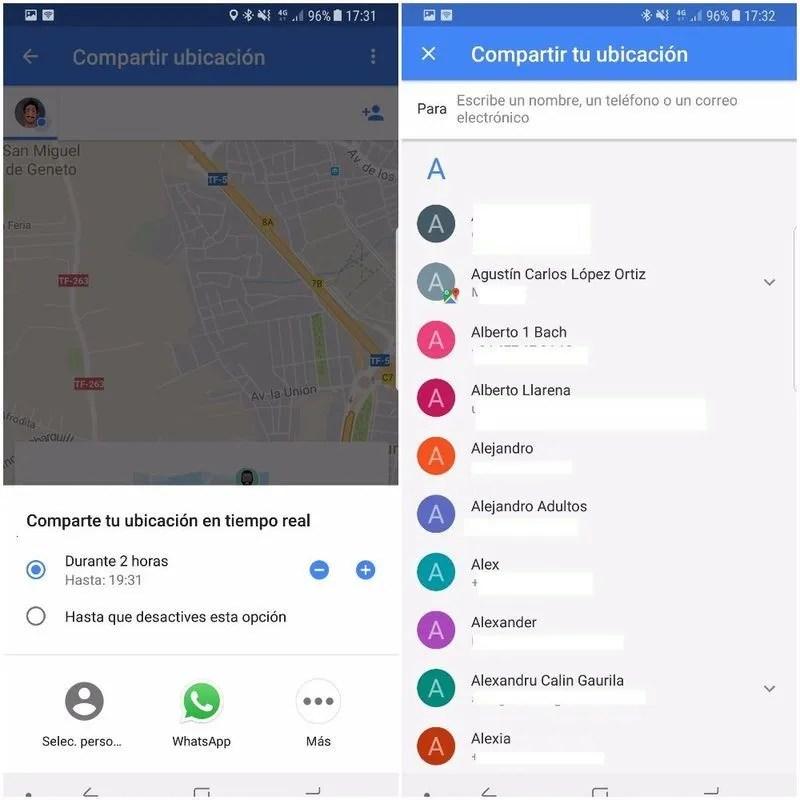 google maps compartir tiempo real