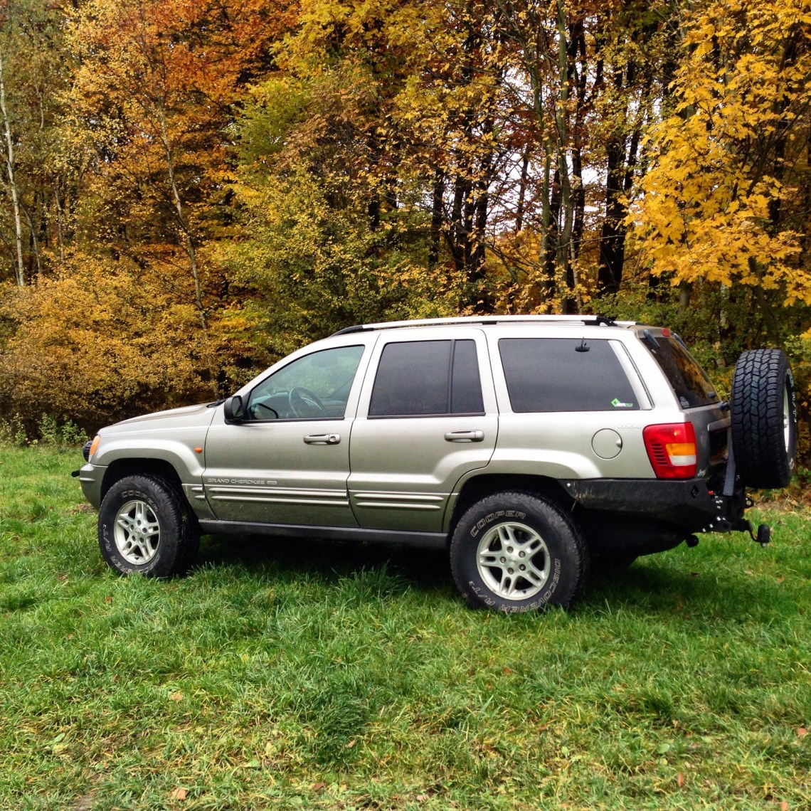 Jeep and autumn leafs