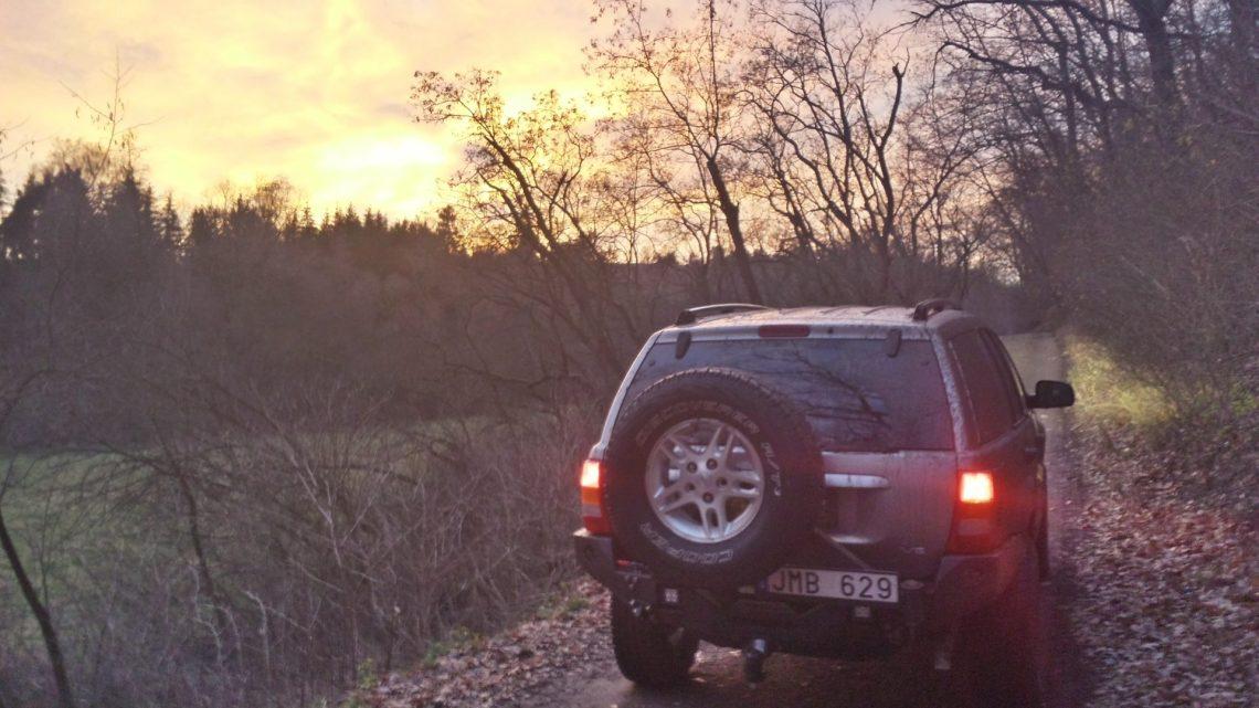 Jeep WJ sunset rear Czech Republic