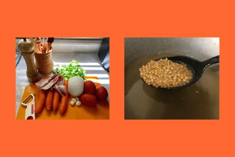 Sopa de Lentejas con huevo cocido y tocino Gusta Usted