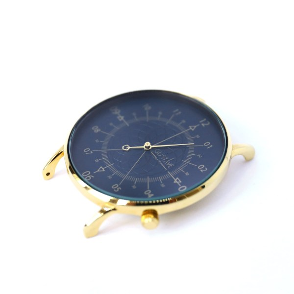 Louis <br> Blue & Gold Watch - Blue Leather