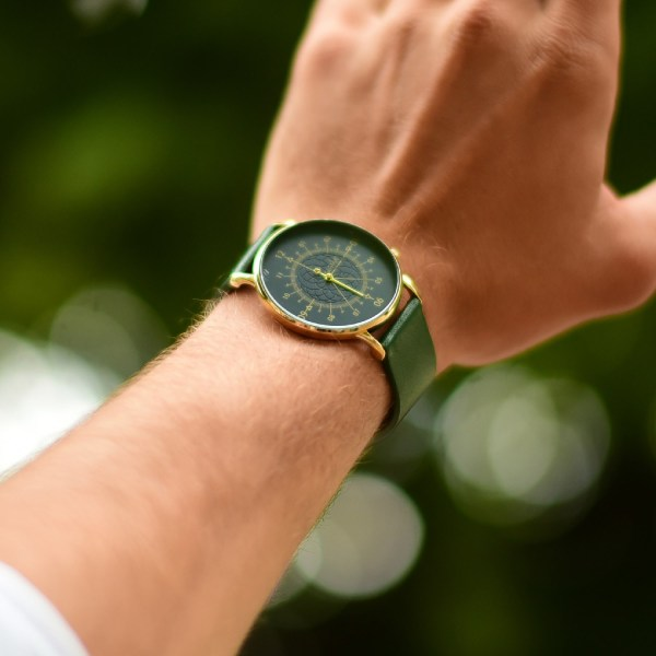 Louis <br> Blue & Gold Watch - Green Leather