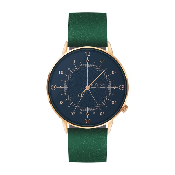 Louis Watch Blue & Rose Gold - Green Leather